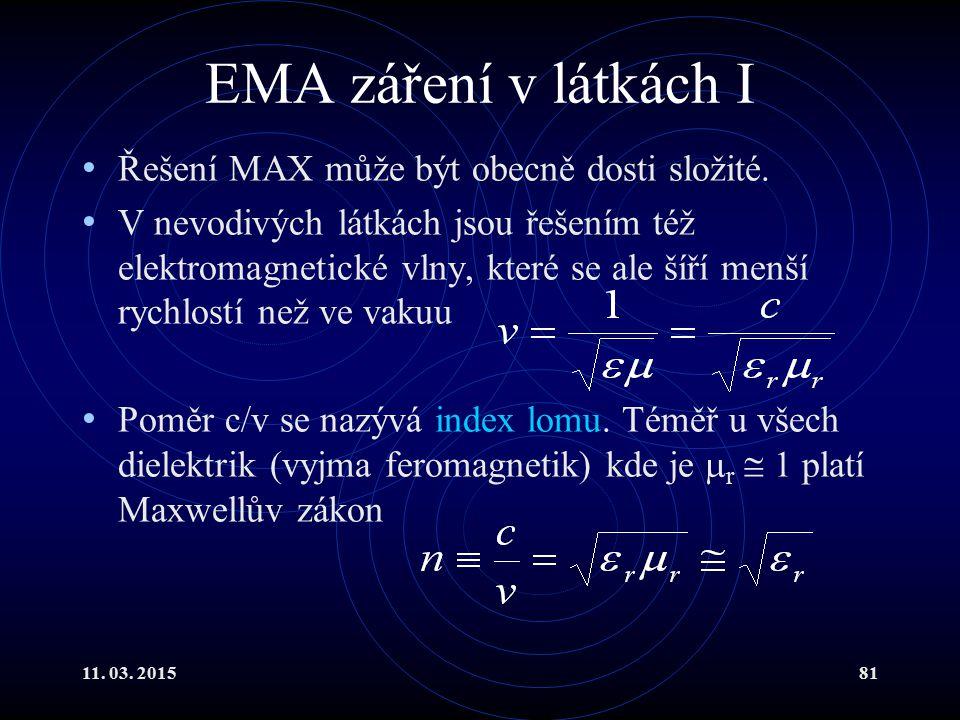 11. 03. 201581 EMA záření v látkách I Řešení MAX může být obecně dosti složité. V nevodivých látkách jsou řešením též elektromagnetické vlny, které se