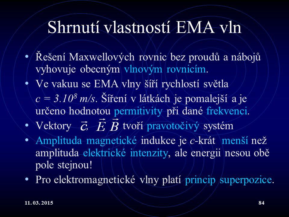 11. 03. 201584 Shrnutí vlastností EMA vln Řešení Maxwellových rovnic bez proudů a nábojů vyhovuje obecným vlnovým rovnicím. Ve vakuu se EMA vlny šíří