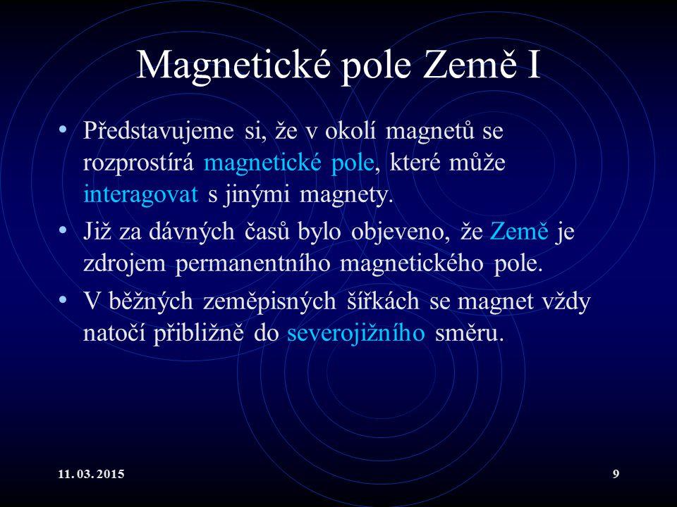 11. 03. 20159 Magnetické pole Země I Představujeme si, že v okolí magnetů se rozprostírá magnetické pole, které může interagovat s jinými magnety. Již