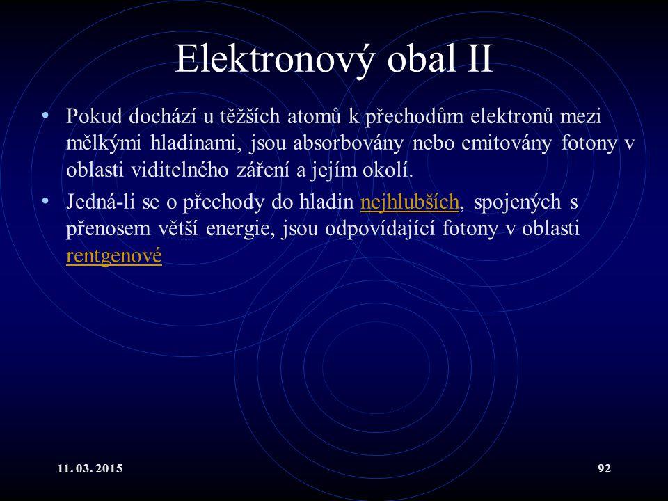 11. 03. 201592 Elektronový obal II Pokud dochází u těžších atomů k přechodům elektronů mezi mělkými hladinami, jsou absorbovány nebo emitovány fotony