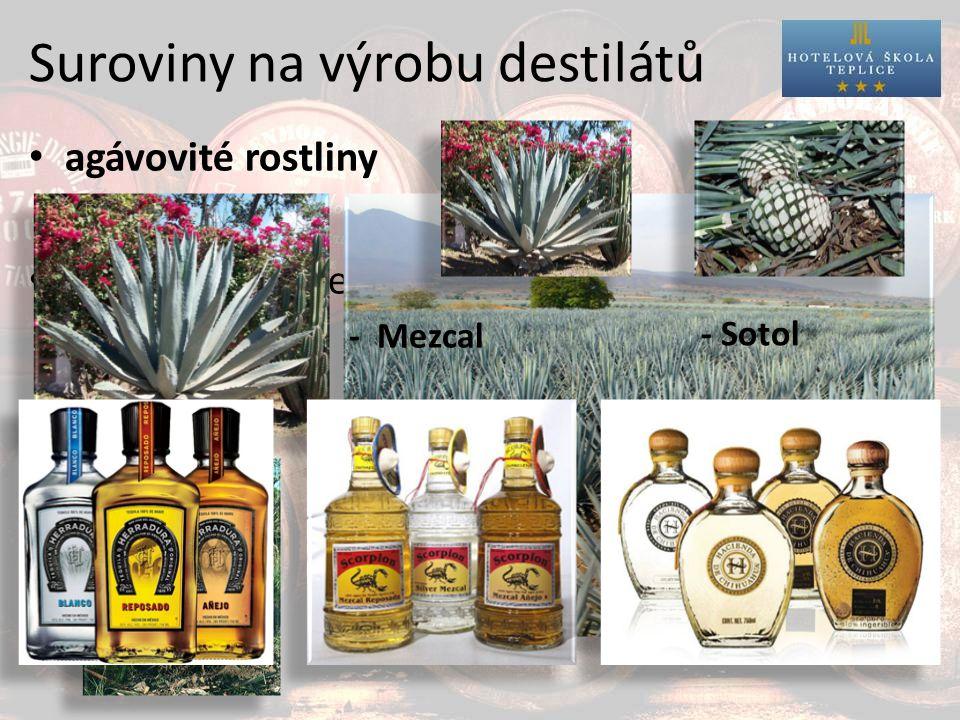Suroviny na výrobu destilátů agávovité rostliny destiláty z agáve: - Tequila - Mezcal - Sotol