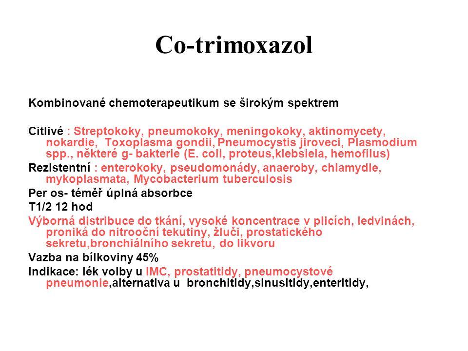 Co-trimoxazol Kombinované chemoterapeutikum se širokým spektrem Citlivé : Streptokoky, pneumokoky, meningokoky, aktinomycety, nokardie, Toxoplasma gon