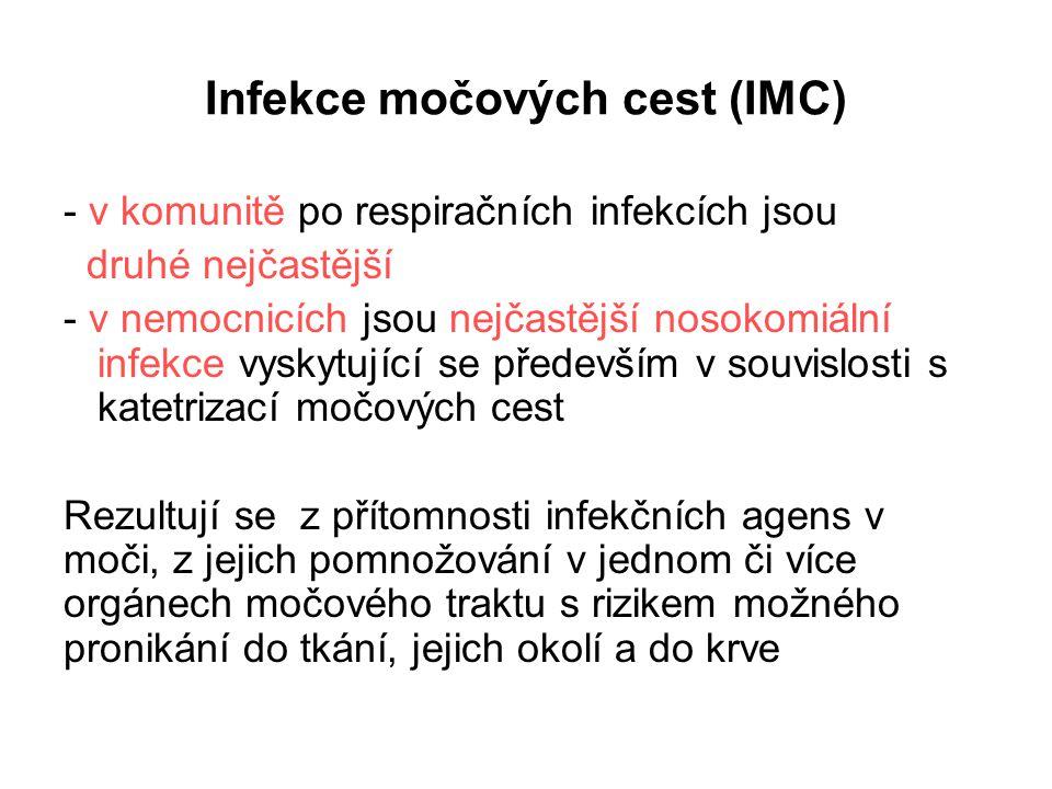 Infekce močových cest (IMC) - v komunitě po respiračních infekcích jsou druhé nejčastější - v nemocnicích jsou nejčastější nosokomiální infekce vyskyt