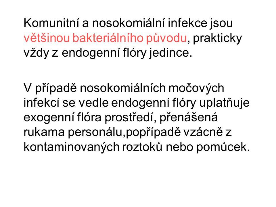 Komunitní a nosokomiální infekce jsou většinou bakteriálního původu, prakticky vždy z endogenní flóry jedince. V případě nosokomiálních močových infek