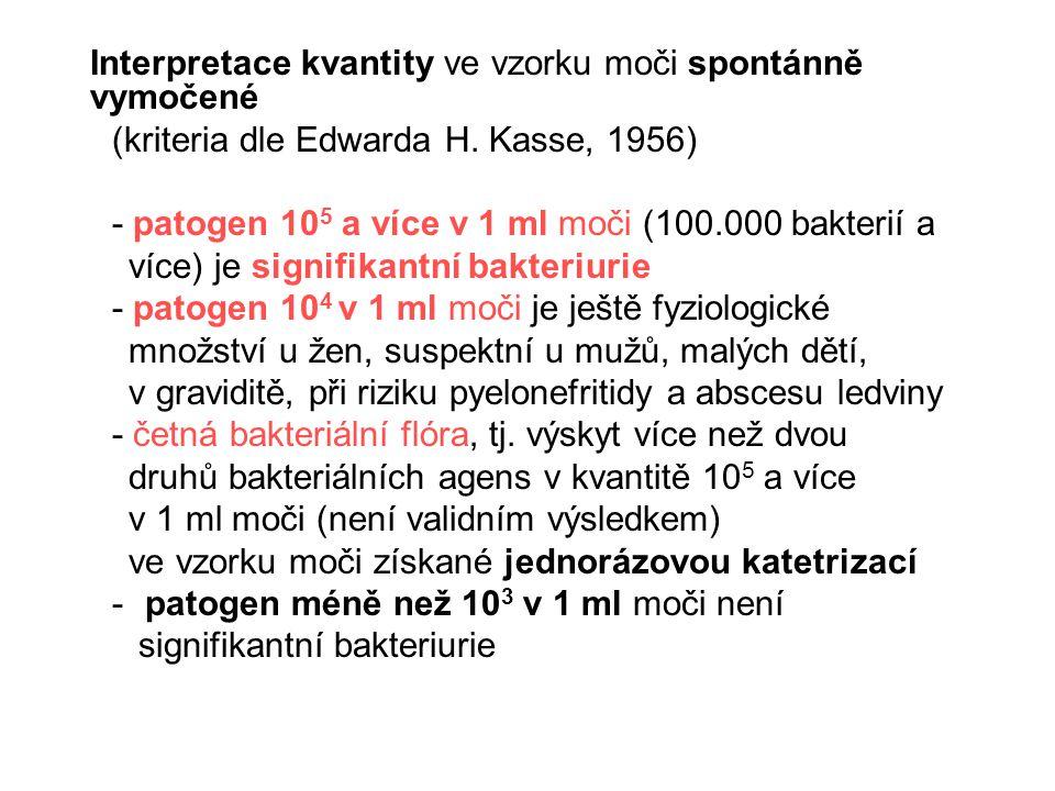 Interpretace kvantity ve vzorku moči spontánně vymočené (kriteria dle Edwarda H. Kasse, 1956) - patogen 10 5 a více v 1 ml moči (100.000 bakterií a ví