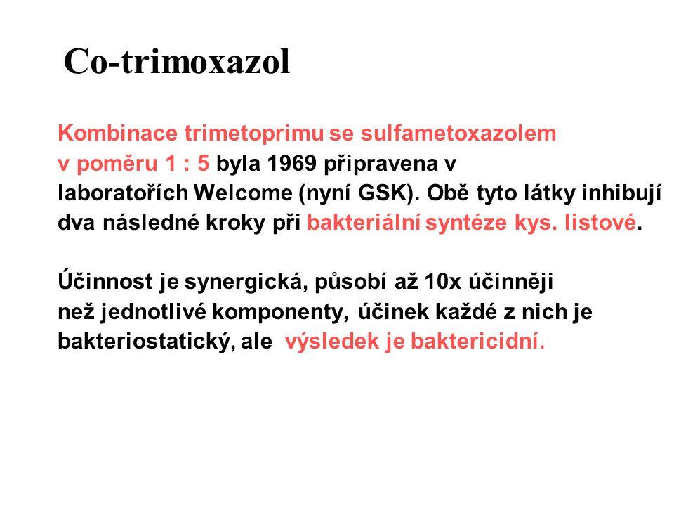 Co-trimoxazol Kombinované chemoterapeutikum se širokým spektrem Citlivé : Streptokoky, pneumokoky, meningokoky, aktinomycety, nokardie, Toxoplasma gondii, Pneumocystis jiroveci, Plasmodium spp., některé g- bakterie (E.