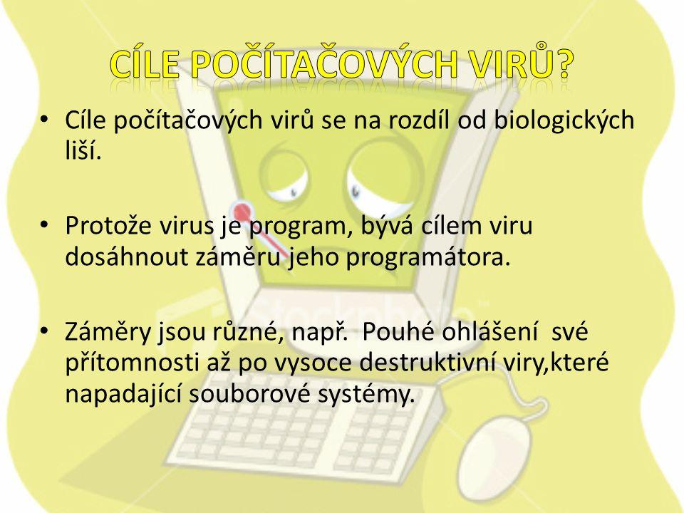Cíle počítačových virů se na rozdíl od biologických liší.