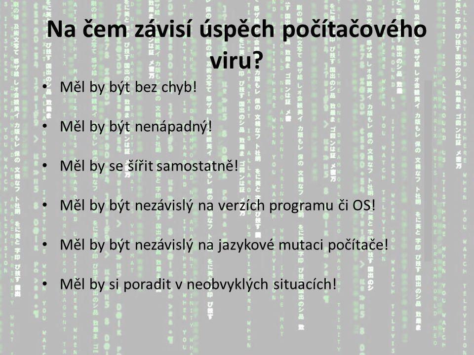 Na čem závisí úspěch počítačového viru. Měl by být bez chyb.