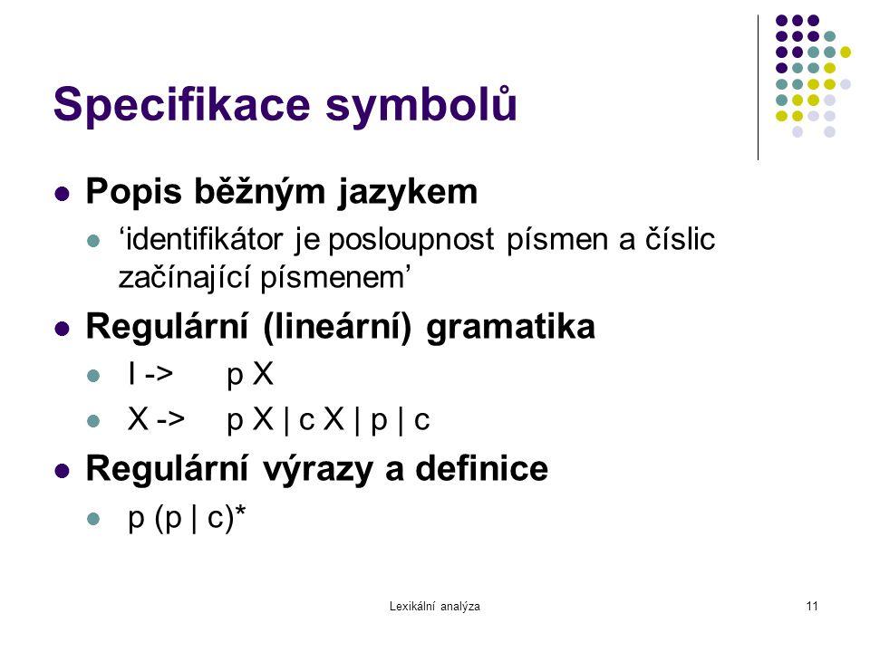 Lexikální analýza11 Specifikace symbolů Popis běžným jazykem 'identifikátor je posloupnost písmen a číslic začínající písmenem' Regulární (lineární) g