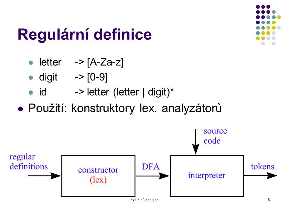 Lexikální analýza18 Regulární definice letter-> [A-Za-z] digit-> [0-9] id-> letter (letter | digit)* Použití: konstruktory lex. analyzátorů