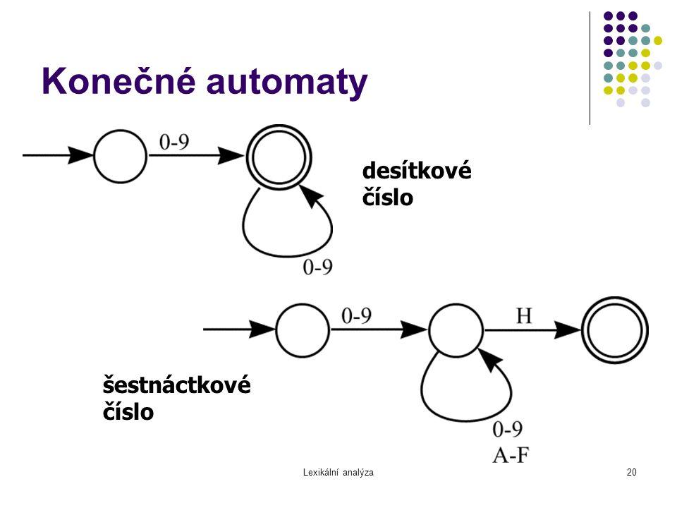 Lexikální analýza20 Konečné automaty desítkové číslo šestnáctkové číslo