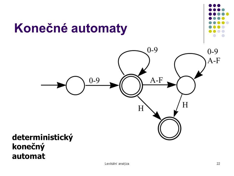 Lexikální analýza22 Konečné automaty deterministický konečný automat