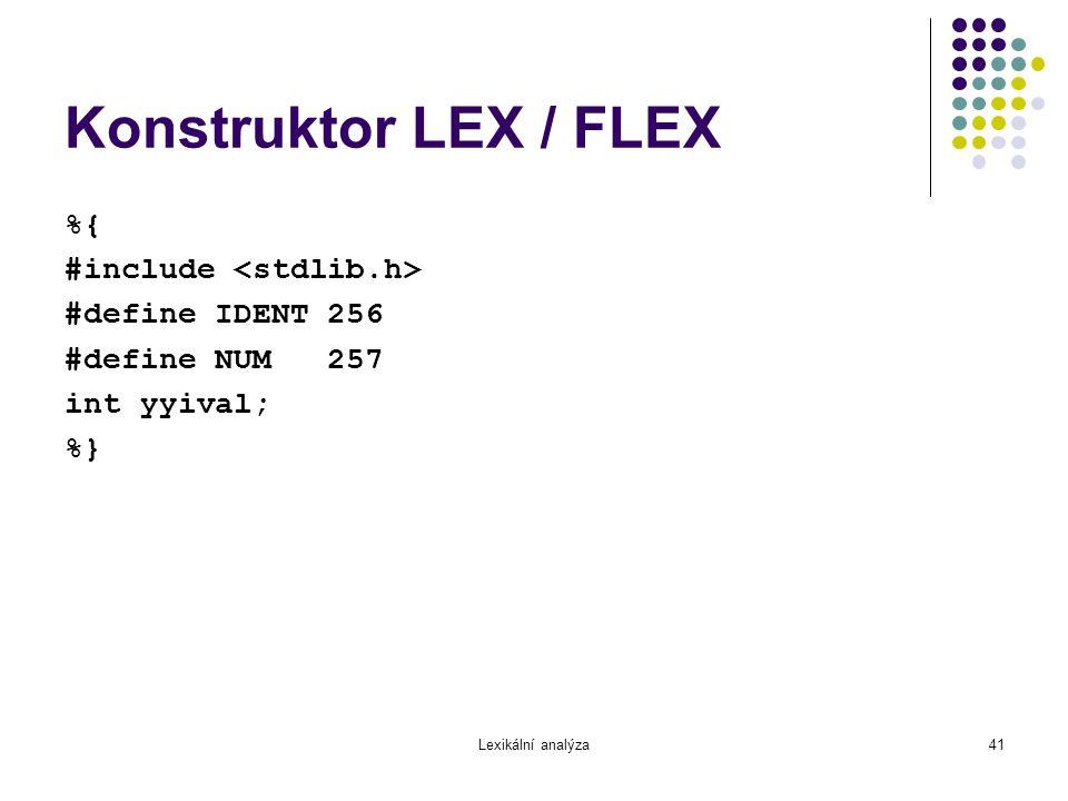 Lexikální analýza41 Konstruktor LEX / FLEX %{ #include #define IDENT 256 #define NUM 257 int yyival; %}