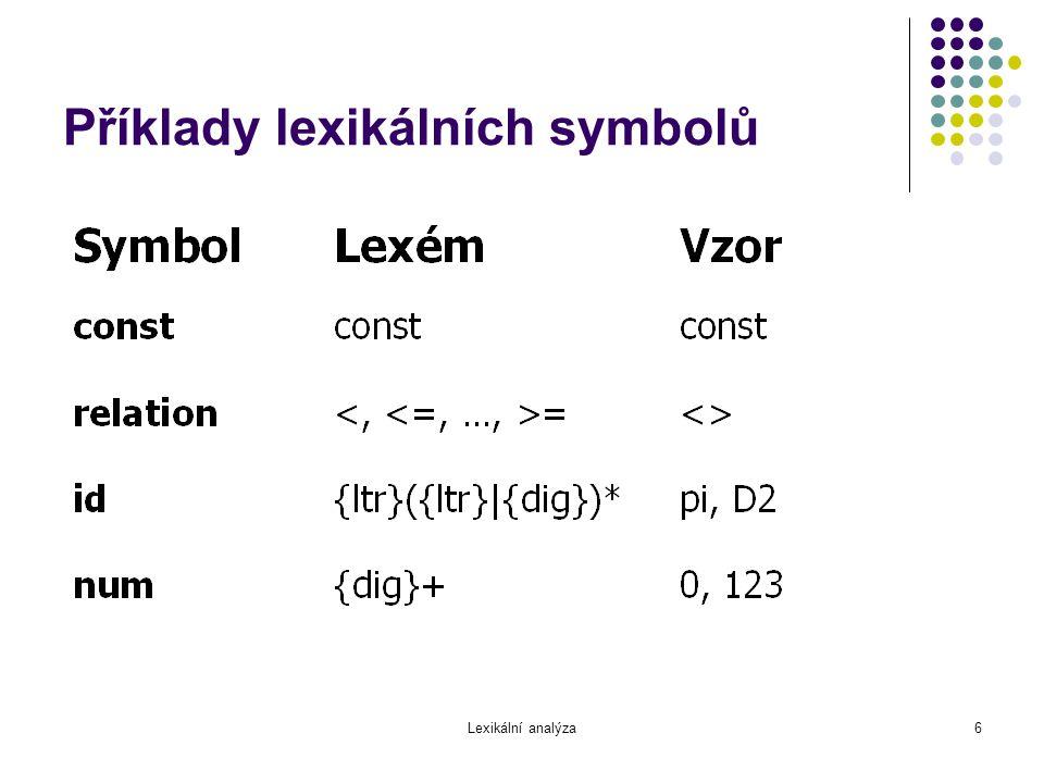 Lexikální analýza7 Reprezentace symbolů // kategorie symbolů enum Symbol { IdSym, NumSym, RelOpSym, DotSym,...