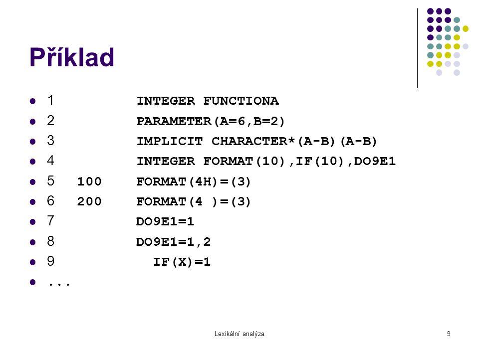 Lexikální analýza10 Příklad (pokr.) 10 IF(X)H=1 11 IF(X)300,200 12 300 CONTINUE 13 END C this is a comment $FILE(1) 14 END