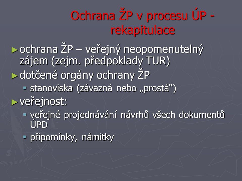 Ochrana ŽP v procesu ÚP - rekapitulace ► ochrana ŽP – veřejný neopomenutelný zájem (zejm.