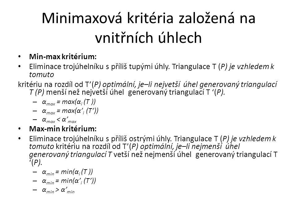 Minimaxová kritéria založená na vnitřních úhlech Min-max kritérium: Eliminace trojúhelníku s příliš tupými úhly. Triangulace T (P) je vzhledem k tomut