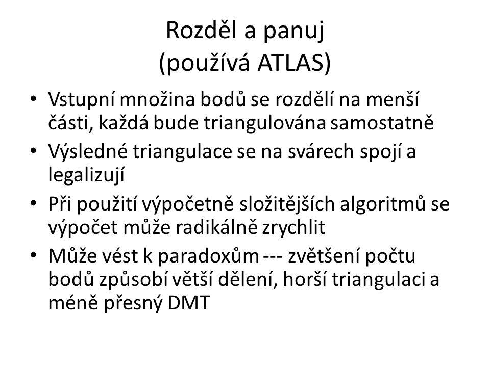 Rozděl a panuj (používá ATLAS) Vstupní množina bodů se rozdělí na menší části, každá bude triangulována samostatně Výsledné triangulace se na svárech