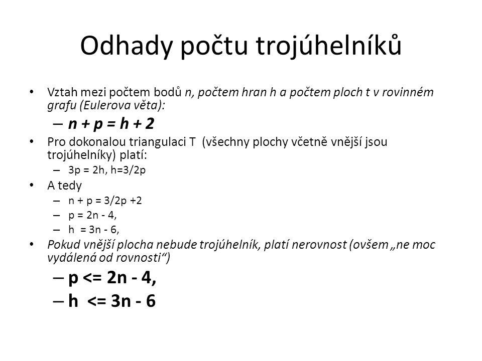 Odhady počtu trojúhelníků Vztah mezi počtem bodů n, počtem hran h a počtem ploch t v rovinném grafu (Eulerova věta): – n + p = h + 2 Pro dokonalou tri