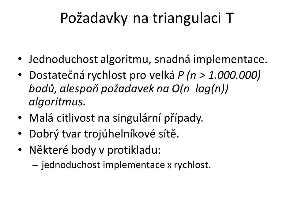 Požadavky na triangulaci T Jednoduchost algoritmu, snadná implementace. Dostatečná rychlost pro velká P (n > 1.000.000) bodů, alespoň požadavek na O(n