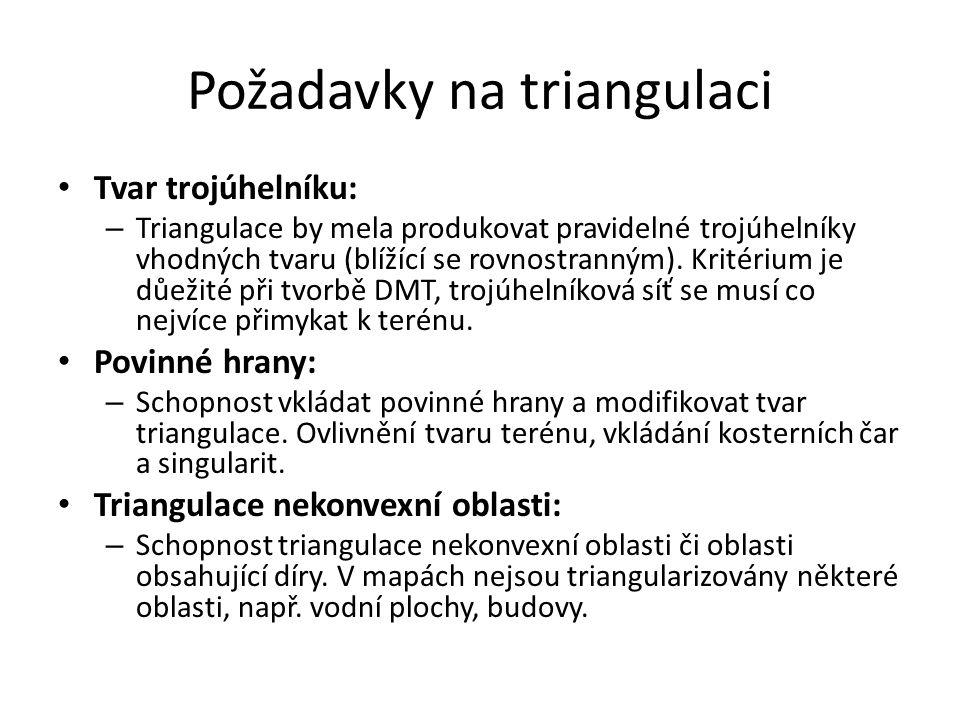 Požadavky na triangulaci Tvar trojúhelníku: – Triangulace by mela produkovat pravidelné trojúhelníky vhodných tvaru (blížící se rovnostranným). Kritér