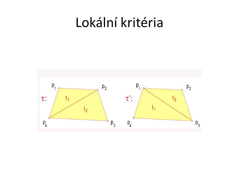 Metoda lokálního prohazování Převod libovolné triangulace T na DT.