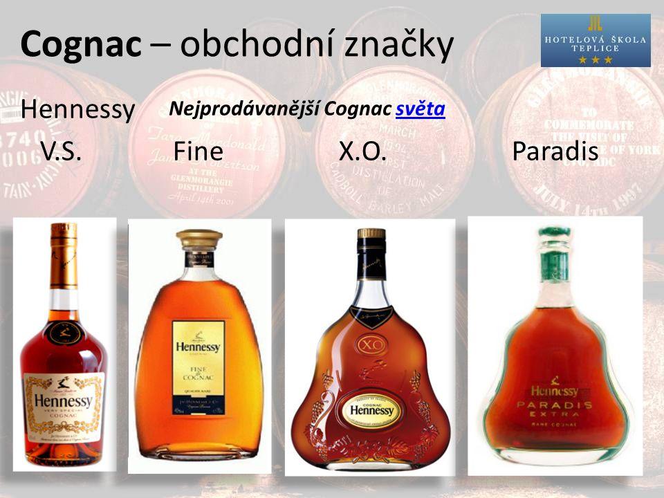 Cognac – obchodní značky Hennessy V.S. Fine X.O. Paradis Nejprodávanější Cognac světa