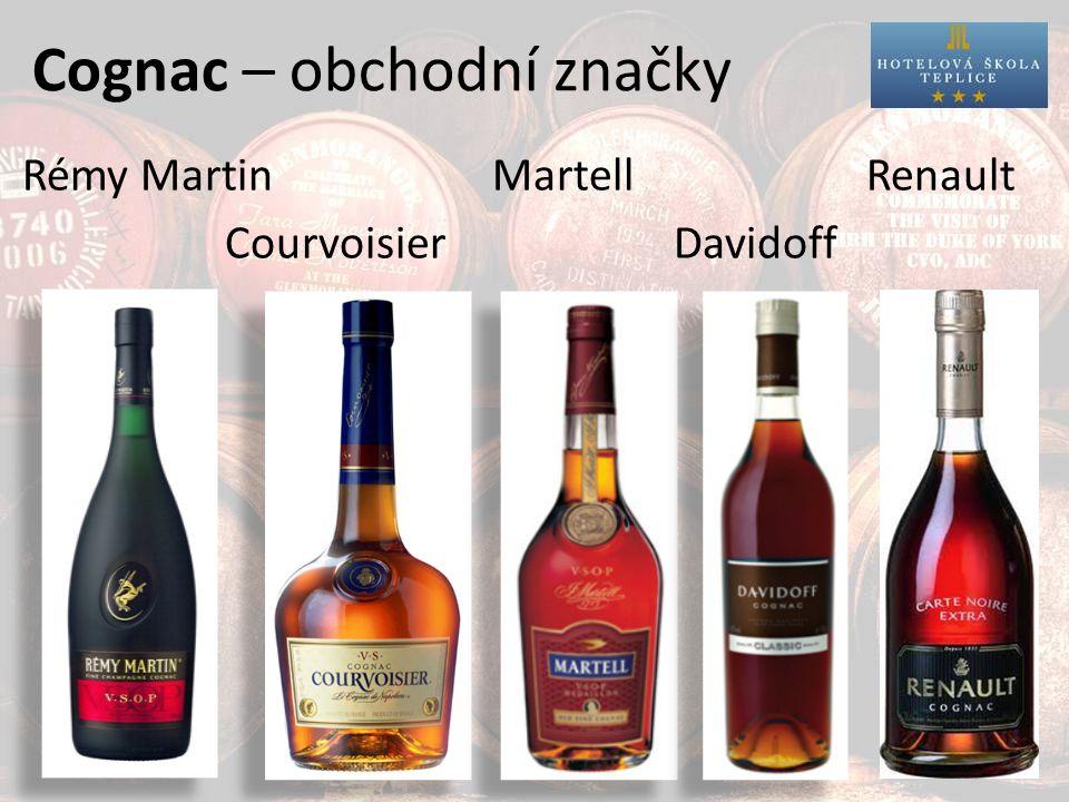Cognac – obchodní značky Rémy Martin MartellRenault Courvoisier Davidoff