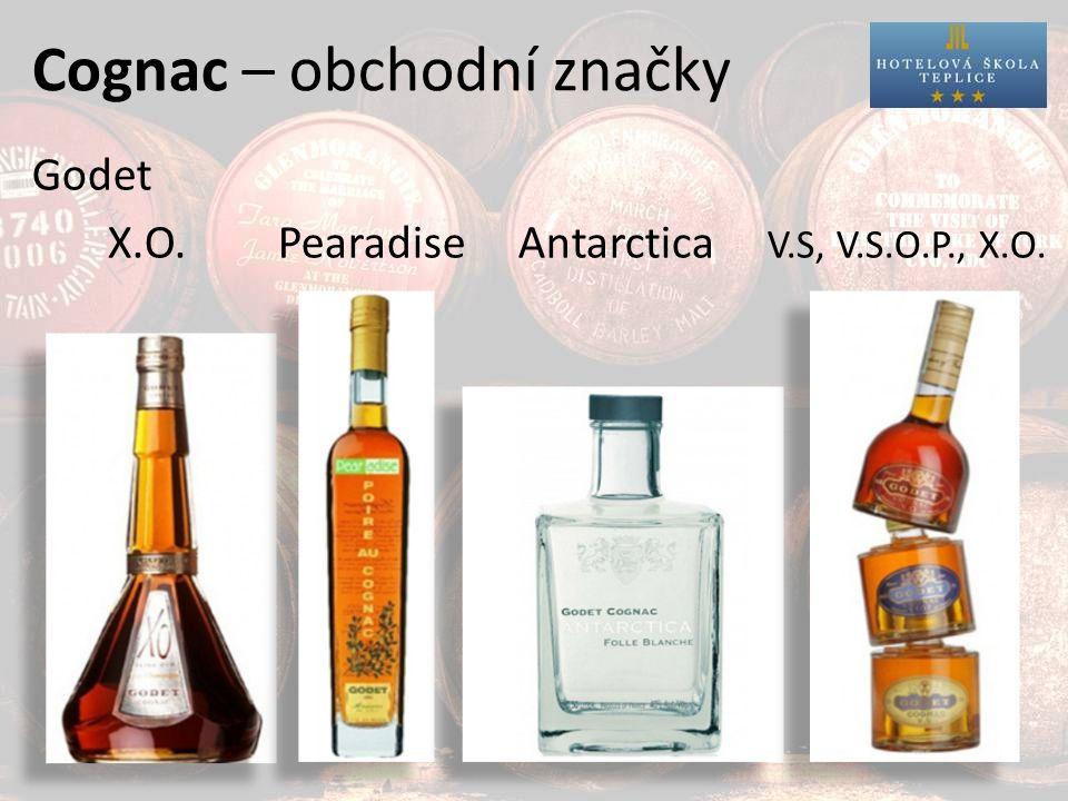 Cognac – obchodní značky Godet X.O. Pearadise Antarctica V.S, V.S.O.P., X.O.