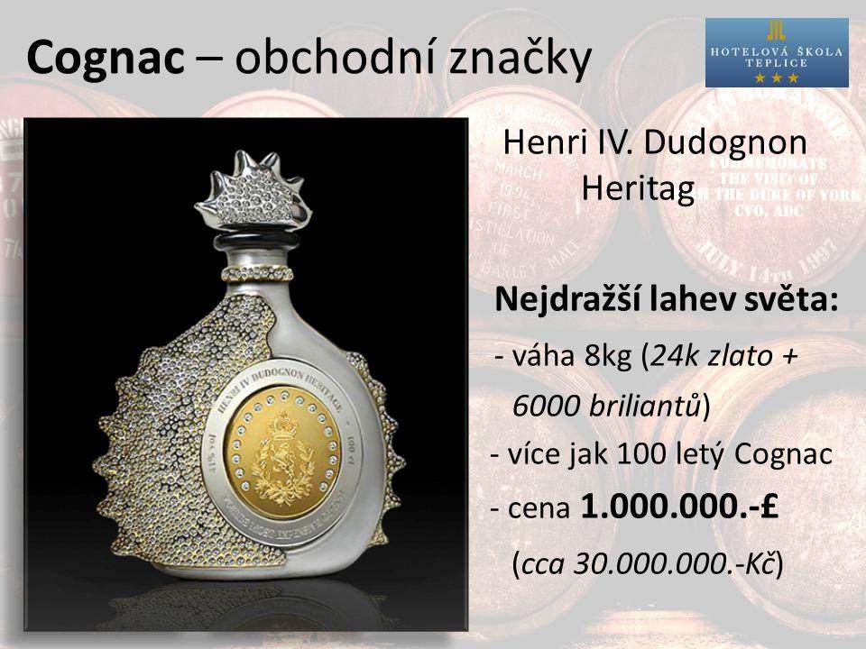 Cognac – obchodní značky Otard Bisquit Henri IV.