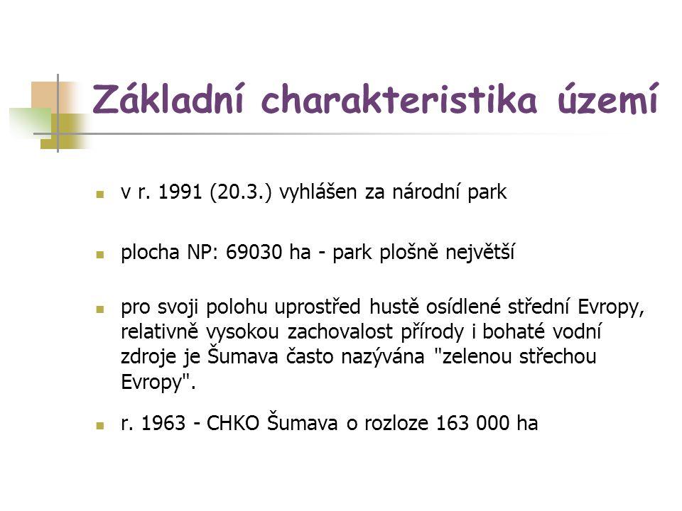 Základní charakteristika území v r. 1991 (20.3.) vyhlášen za národní park plocha NP: 69030 ha - park plošně největší pro svoji polohu uprostřed hustě