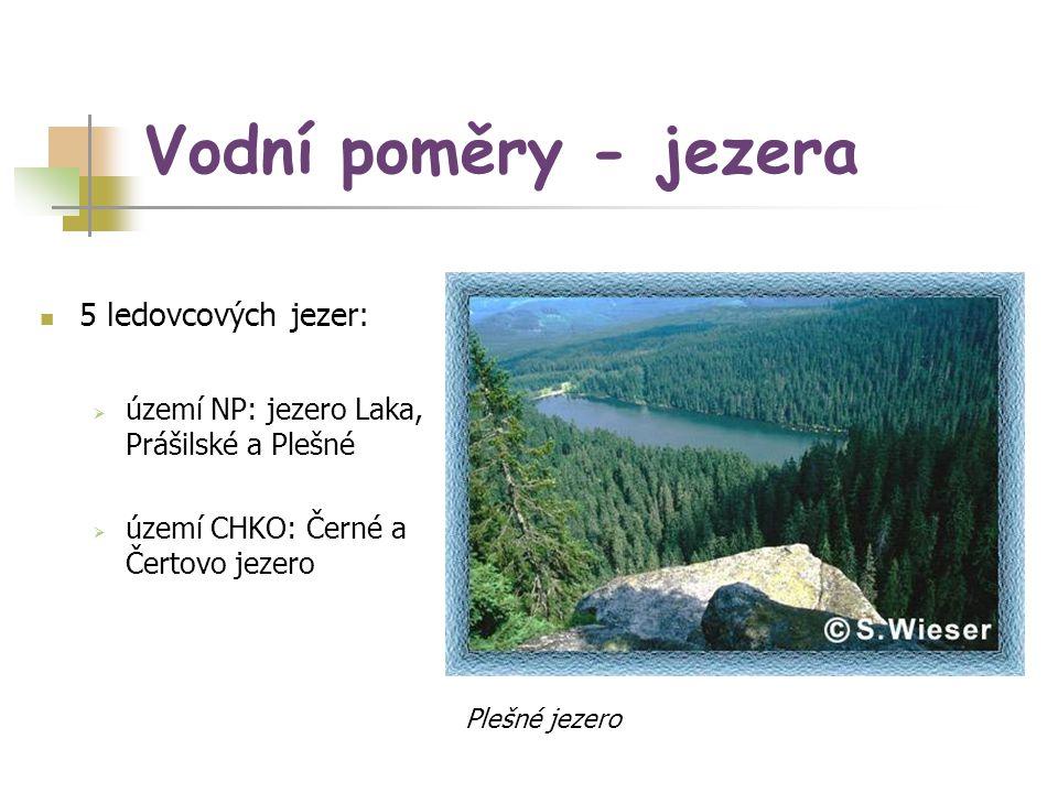 Vodní poměry - jezera 5 ledovcových jezer:  území NP: jezero Laka, Prášilské a Plešné  území CHKO: Černé a Čertovo jezero Plešné jezero