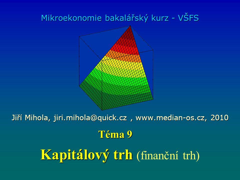 Kapitálový trh Kapitálový trh (finanční trh) Mikroekonomie bakalářský kurz - VŠFS Jiří Mihola, jiri.mihola@quick.cz, www.median-os.cz, 2010 Téma 9