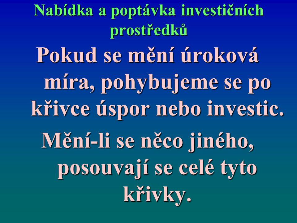 Nabídka a poptávka investičních prostředků Pokud se mění úroková míra, pohybujeme se po křivce úspor nebo investic. Mění-li se něco jiného, posouvají