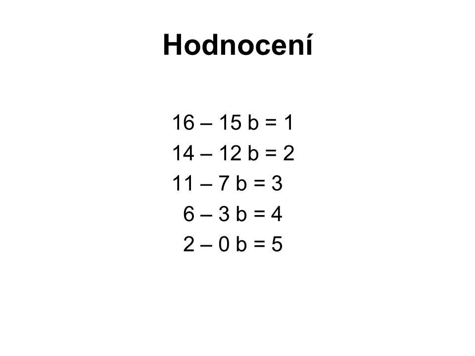 Hodnocení 16 – 15 b = 1 14 – 12 b = 2 11 – 7 b = 3 6 – 3 b = 4 2 – 0 b = 5