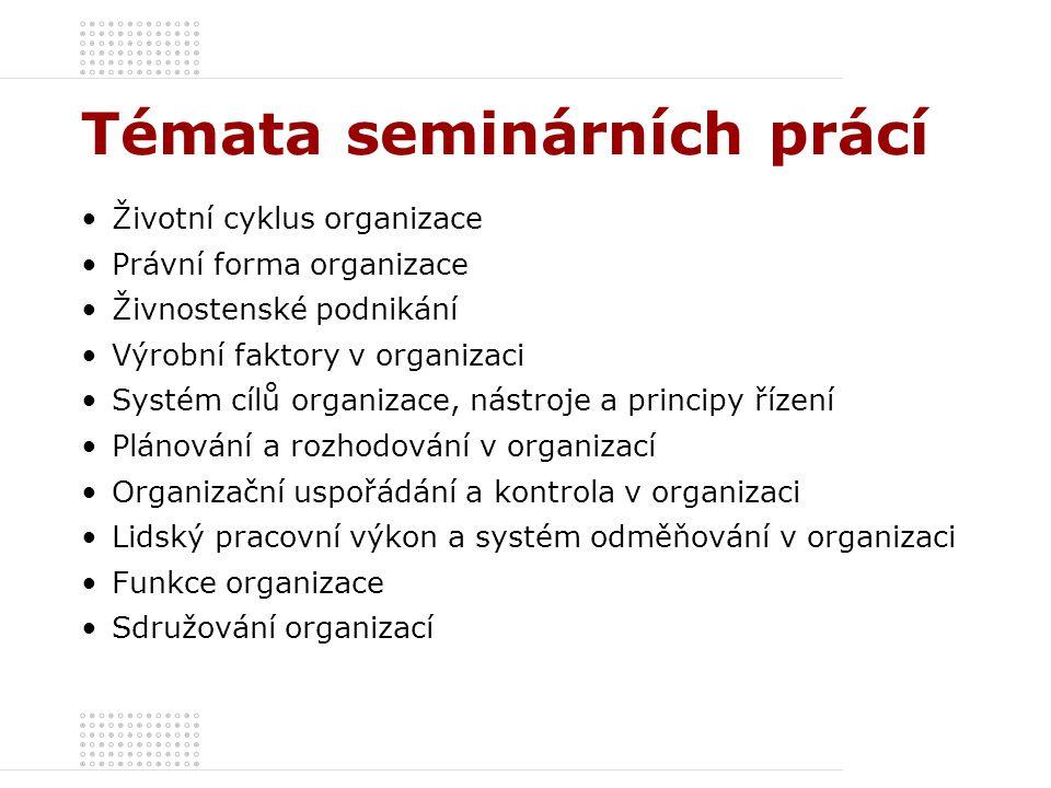 Témata seminárních prácí Životní cyklus organizace Právní forma organizace Živnostenské podnikání Výrobní faktory v organizaci Systém cílů organizace,