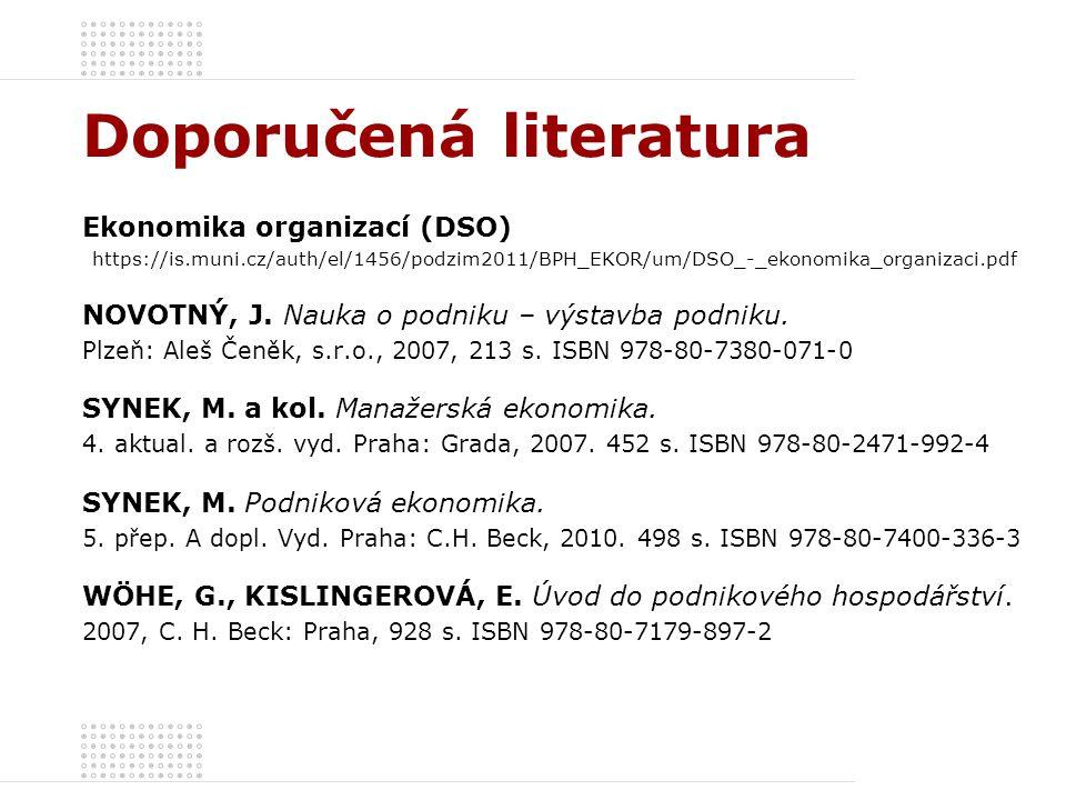 Doporučená literatura Ekonomika organizací (DSO) https://is.muni.cz/auth/el/1456/podzim2011/BPH_EKOR/um/DSO_-_ekonomika_organizaci.pdf NOVOTNÝ, J. Nau