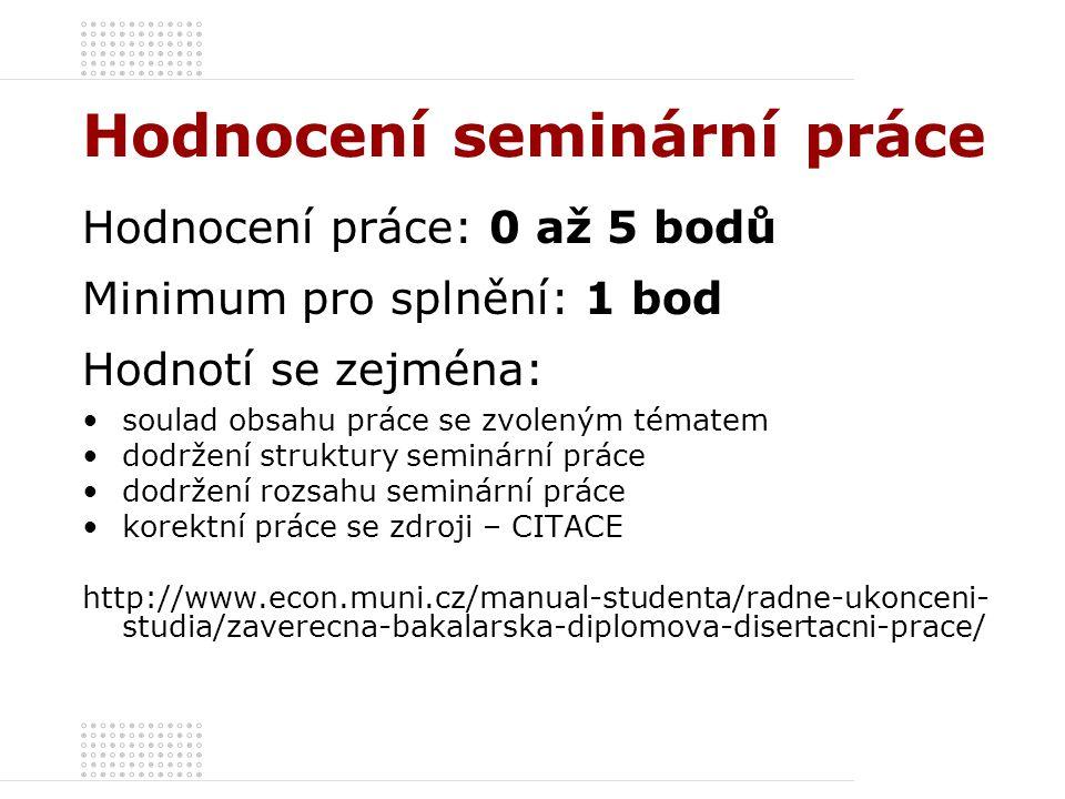 Hodnocení seminární práce Hodnocení práce: 0 až 5 bodů Minimum pro splnění: 1 bod Hodnotí se zejména: soulad obsahu práce se zvoleným tématem dodržení