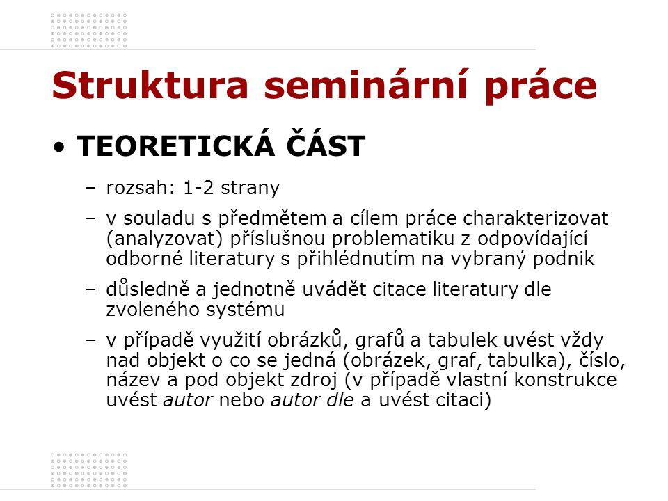 Struktura seminární práce TEORETICKÁ ČÁST –rozsah: 1-2 strany –v souladu s předmětem a cílem práce charakterizovat (analyzovat) příslušnou problematik