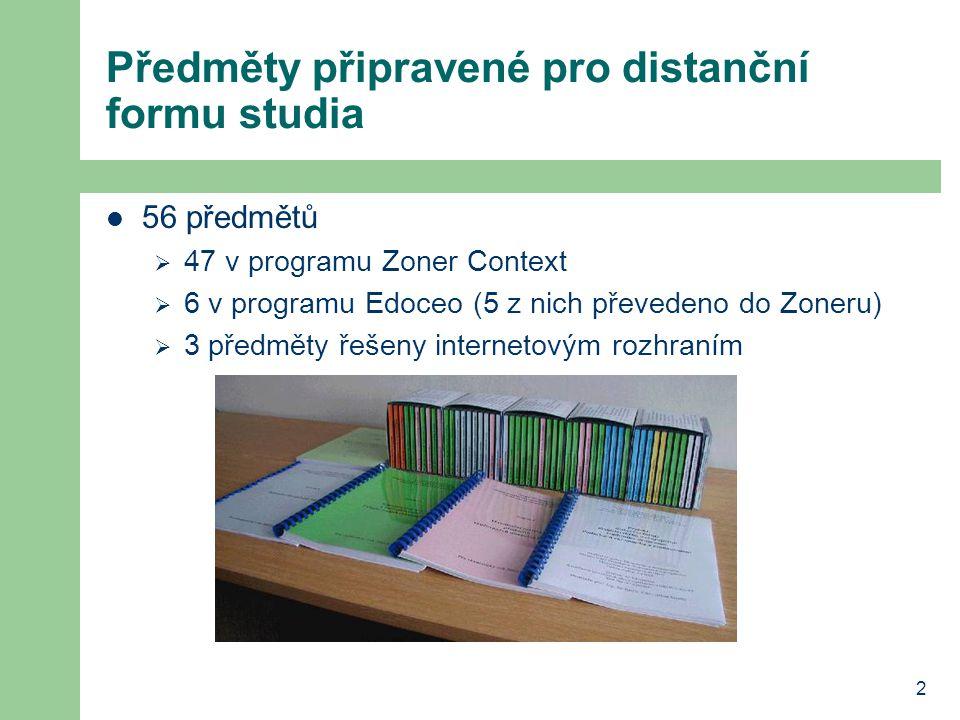 2 Předměty připravené pro distanční formu studia 56 předmětů  47 v programu Zoner Context  6 v programu Edoceo (5 z nich převedeno do Zoneru)  3 předměty řešeny internetovým rozhraním