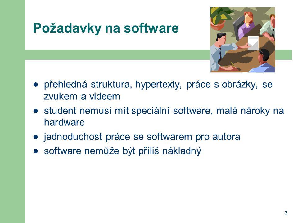 3 Požadavky na software přehledná struktura, hypertexty, práce s obrázky, se zvukem a videem student nemusí mít speciální software, malé nároky na hardware jednoduchost práce se softwarem pro autora software nemůže být příliš nákladný