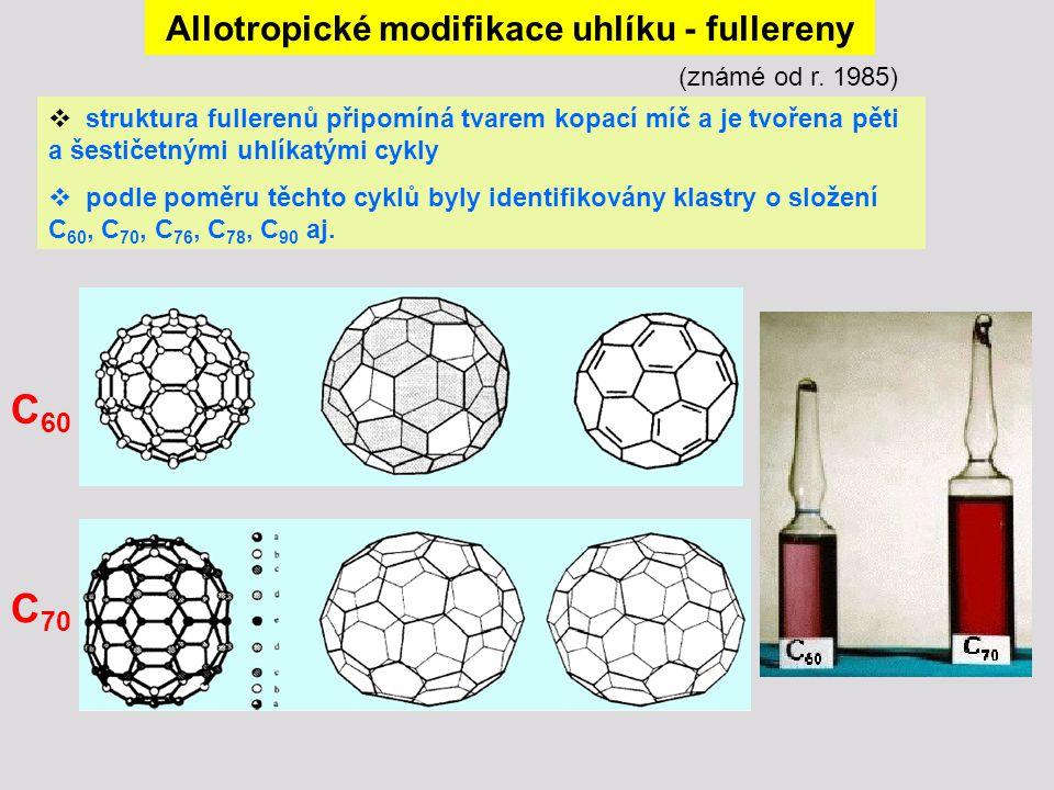 Allotropické modifikace uhlíku - fullereny (známé od r. 1985)  struktura fullerenů připomíná tvarem kopací míč a je tvořena pěti a šestičetnými uhlík