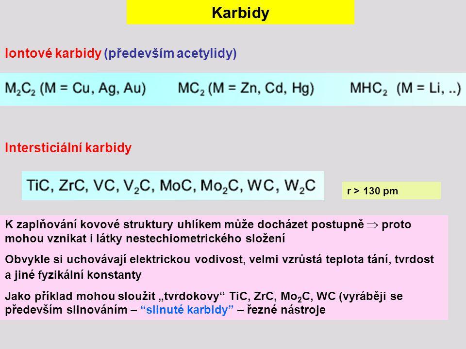 Karbidy Iontové karbidy (především acetylidy) Intersticiální karbidy r > 130 pm K zaplňování kovové struktury uhlíkem může docházet postupně  proto m