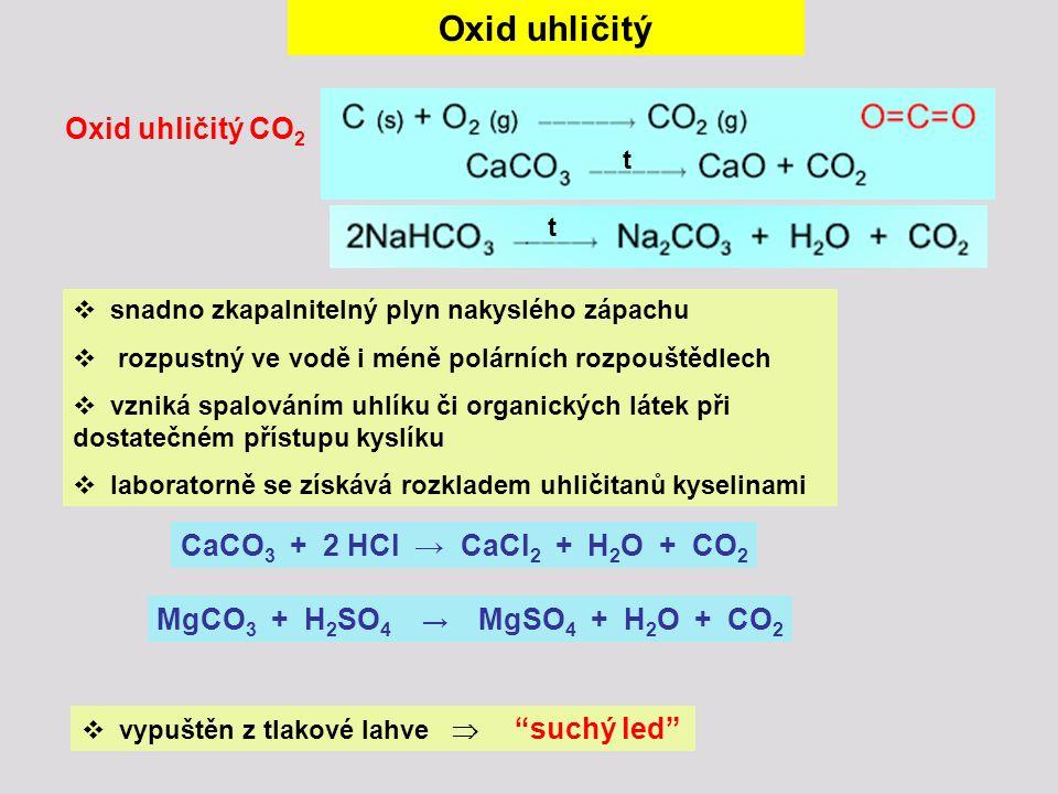 Oxid uhličitý Oxid uhličitý CO 2  snadno zkapalnitelný plyn nakyslého zápachu  rozpustný ve vodě i méně polárních rozpouštědlech  vzniká spalováním