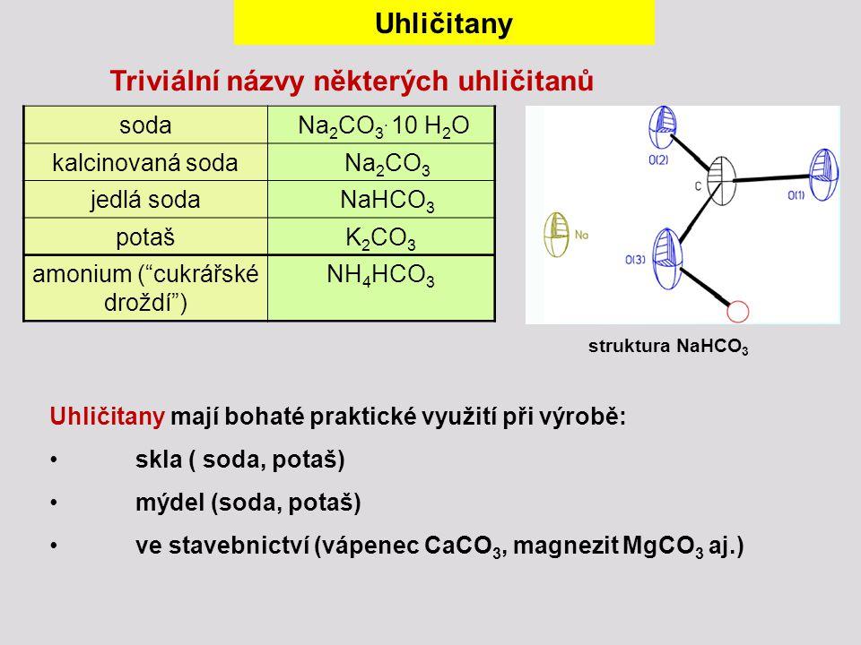 Uhličitany mají bohaté praktické využití při výrobě: skla ( soda, potaš) mýdel (soda, potaš) ve stavebnictví (vápenec CaCO 3, magnezit MgCO 3 aj.) Uhl