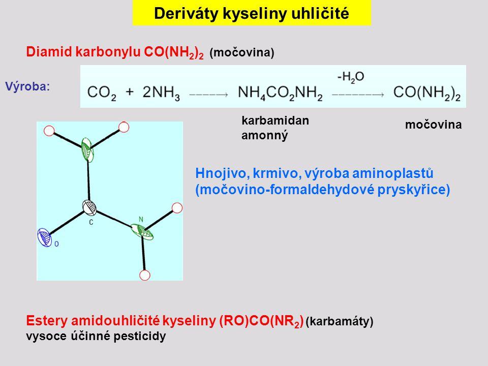 Deriváty kyseliny uhličité Diamid karbonylu CO(NH 2 ) 2 (močovina) Výroba: karbamidan amonný močovina Hnojivo, krmivo, výroba aminoplastů (močovino-fo