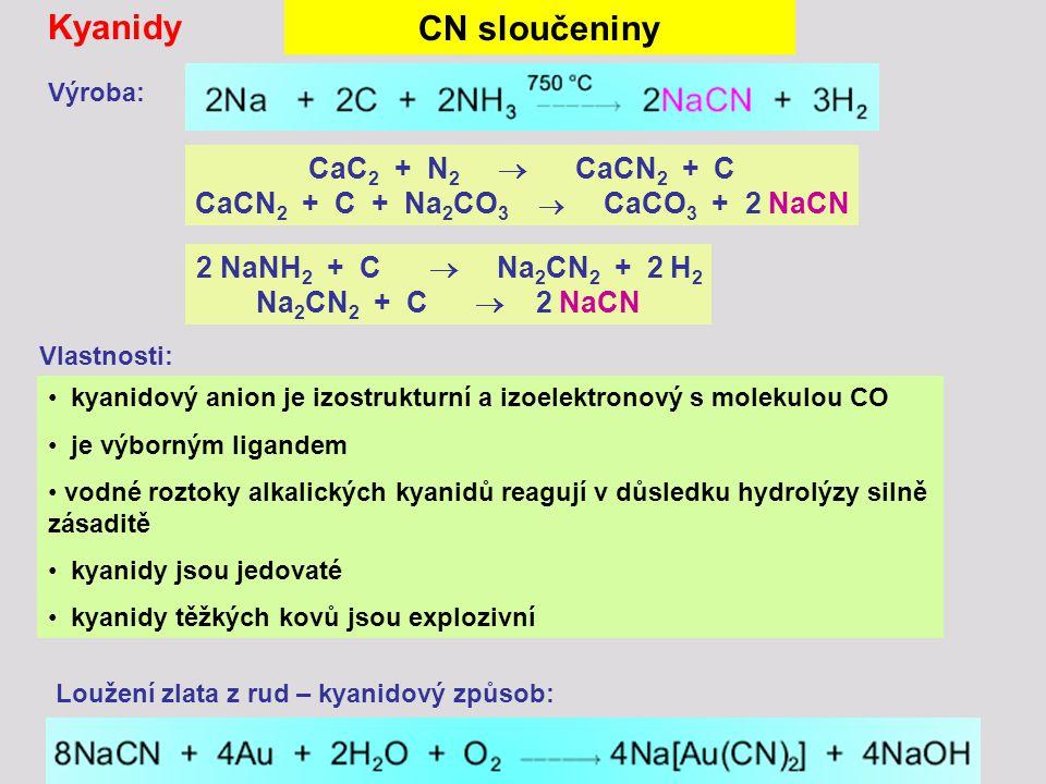 Loužení zlata z rud – kyanidový způsob: CaC 2 + N 2  CaCN 2 + C CaCN 2 + C + Na 2 CO 3  CaCO 3 + 2 NaCN 2 NaNH 2 + C  Na 2 CN 2 + 2 H 2 Na 2 CN 2 +