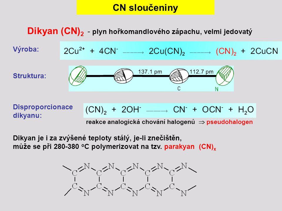 Dikyan (CN) 2 - plyn hořkomandlového zápachu, velmi jedovatý Výroba: Struktura: CN sloučeniny Disproporcionace dikyanu: reakce analogická chování halo