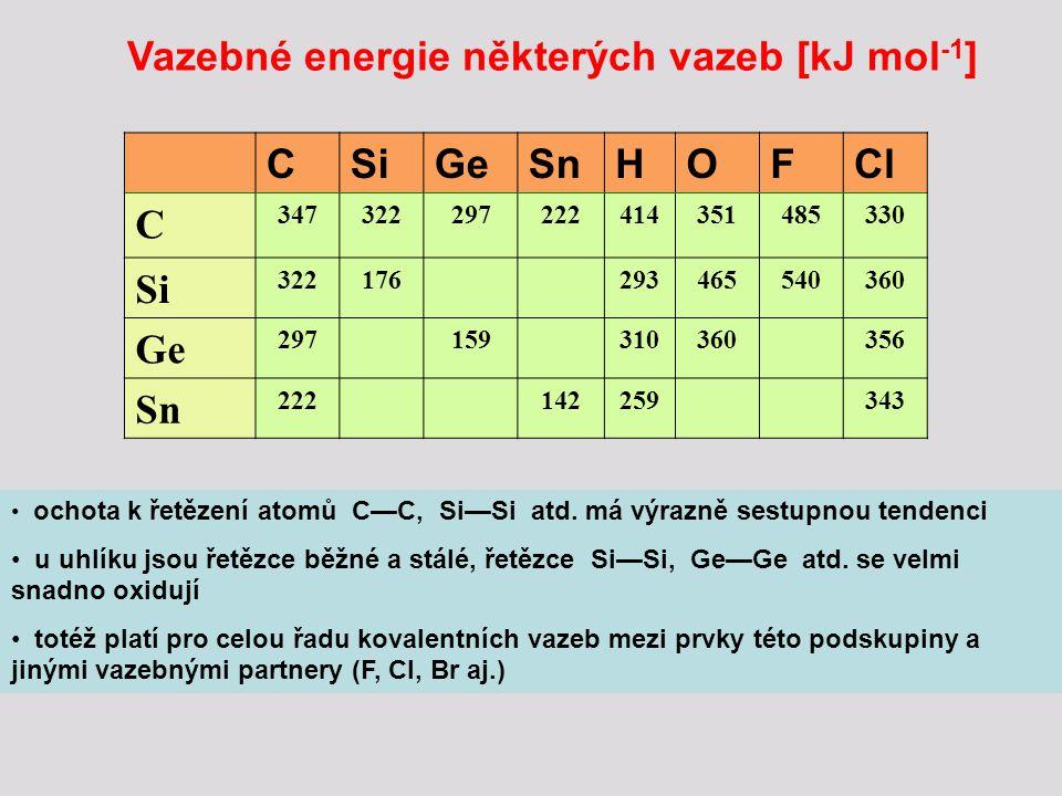 Vazebné možnosti prvků  Jedině uhlík je ze všech prvků IV.