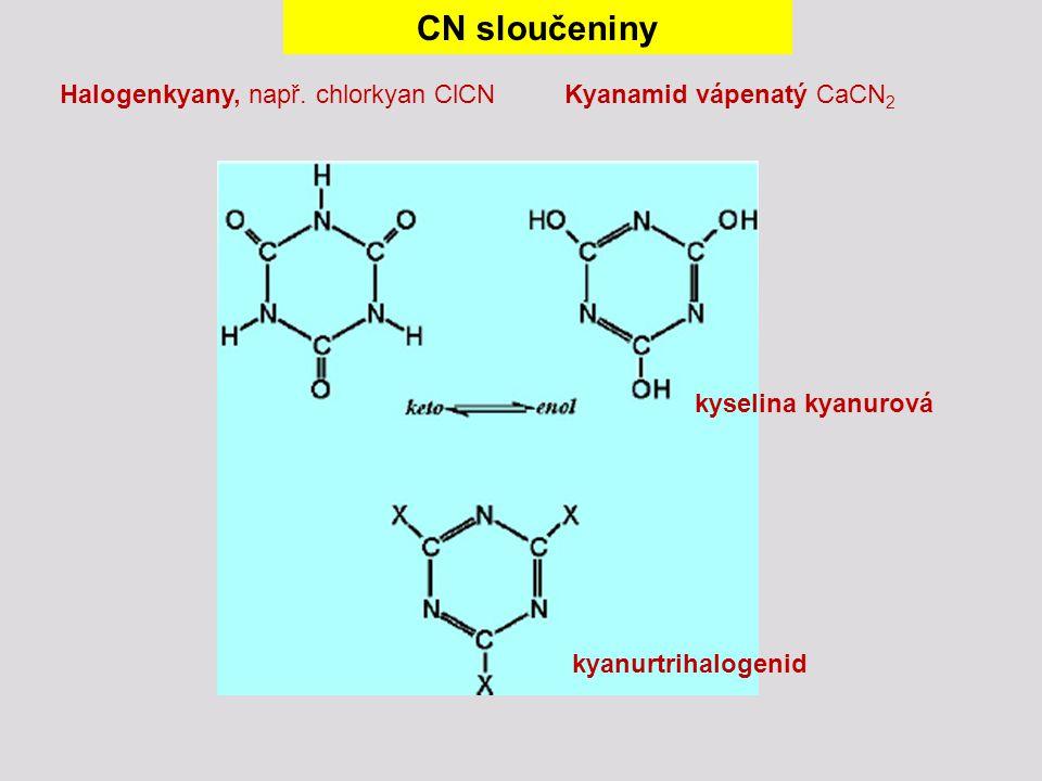 CN sloučeniny Halogenkyany, např. chlorkyan ClCNKyanamid vápenatý CaCN 2 kyanurtrihalogenid kyselina kyanurová